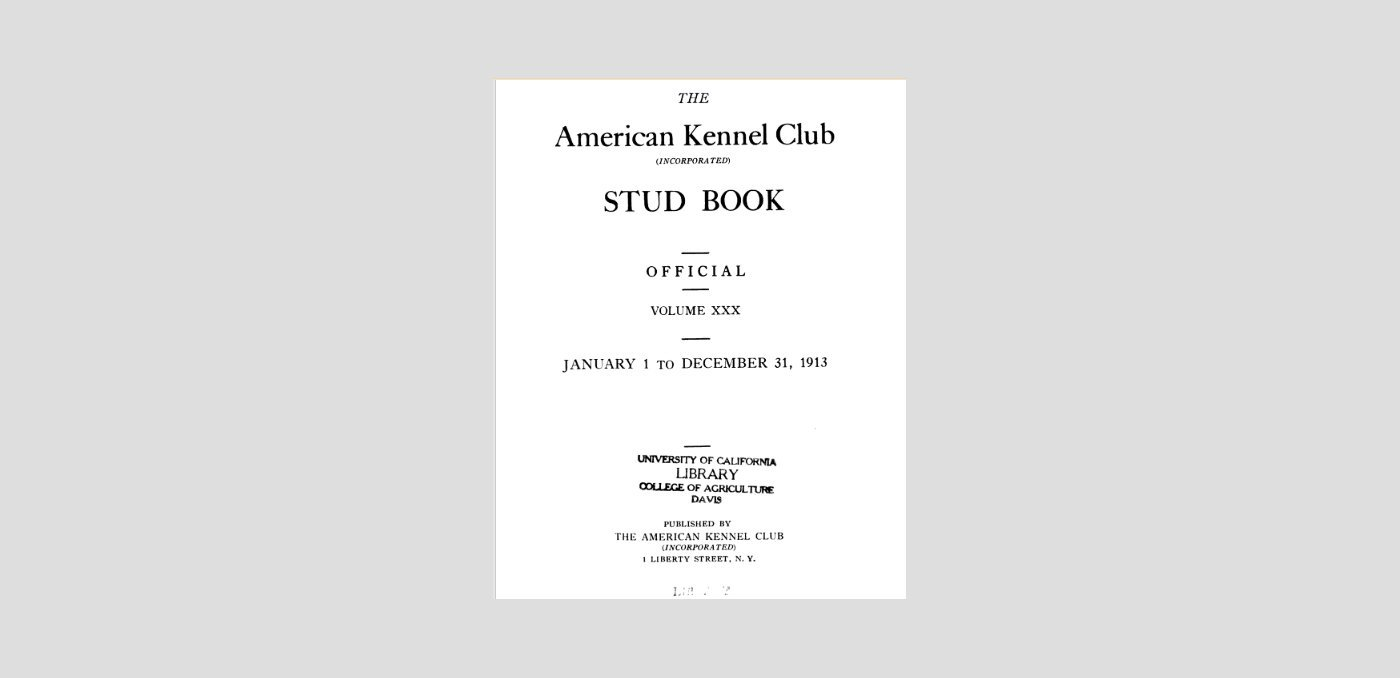 Book cover of the AKC stud book from 1913